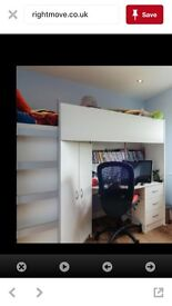Cabin bed with wardrobe and desk