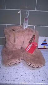 Bedroom Athletics bootee slippers, brand new with labels, soft beige, size small fit adult size 3-5