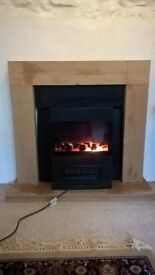 'Real Fire' Style Electric Fan Heater with Pine Fire Place.