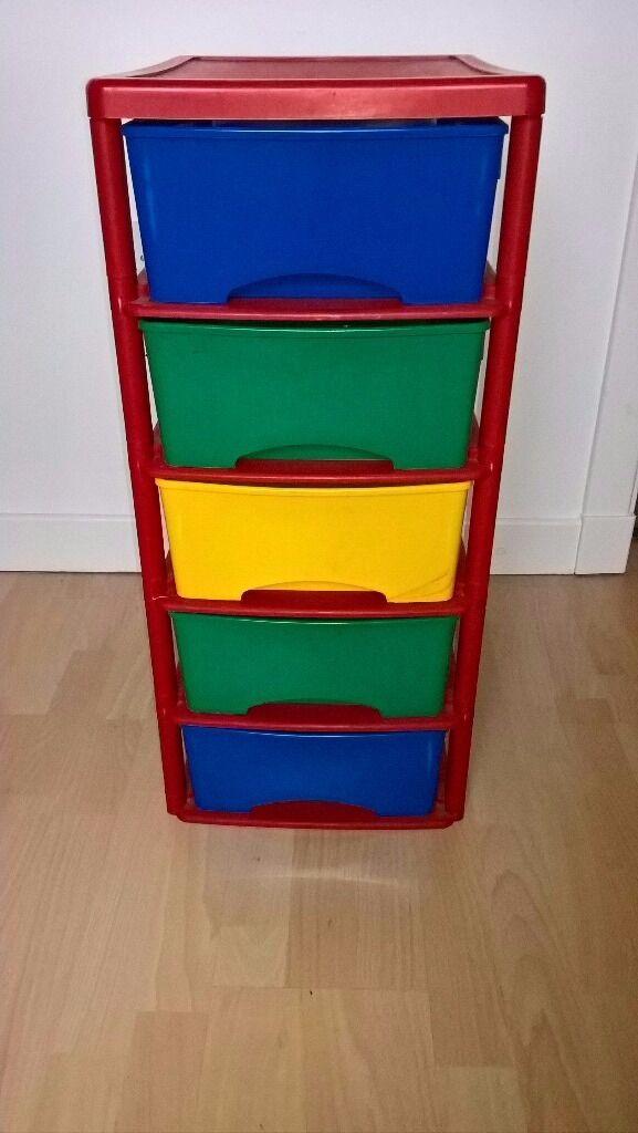 5 Drawer Multi Coloured Plastic Storage Unit In