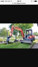 3 ton digger and driver for hire