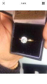 1ct brilliant cut diamond & 18kt gold ring