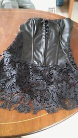 imitation leather and imitation leather and lace sexy clothing