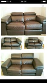 Two brown electric reclining sofas for sale