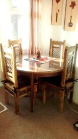 4/6 chair extendable glass top wooden dining table