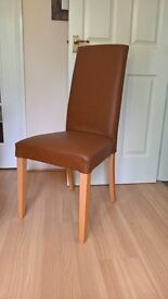 6 brown leather good quality dinning chairs