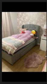 Safina Wing Back Single Bed In Grey Velvet With Underbed Drawer