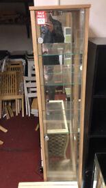 oak glass display unit