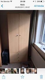 Wardrobe and drawers matching light oak