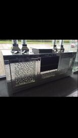 Mirrored floating glass or crush glass tv media unit