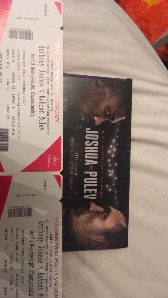 2 Anthony Joshua vs pulev tickets £110 ono