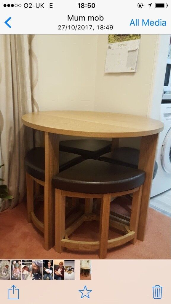 Stowaway table and stools