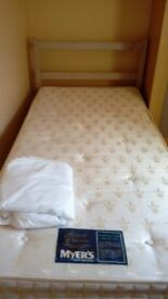 Single wooden bed and good quality mattress