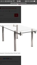 Extending glass table and 4chairs
