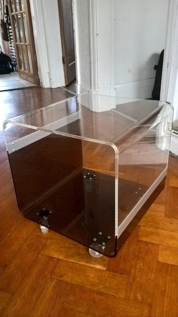 Acrylic Cube Side Table With Storage On Castors In Chester - Acrylic cube side table