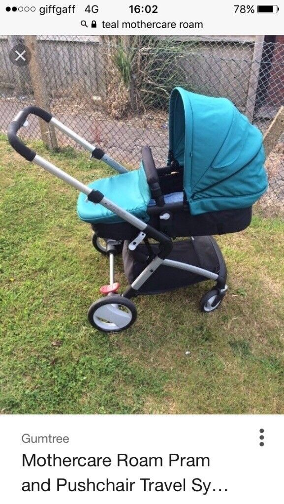 Mothercare roam teal travel system