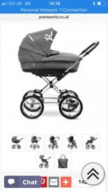 Silver cross black leather pram