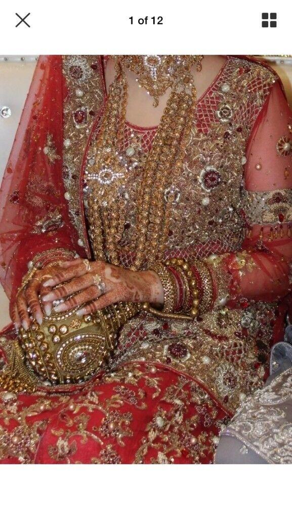 4968dcbdb7 Design quarter Red Gold Wedding Dress Lengha Lehenga Asian Pakistani Indian Bride  Bridal