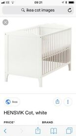 2 ikea white cots for sale