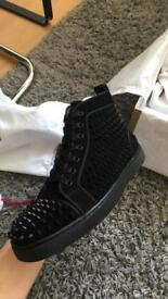 Christian louboutin orlato veau velours black suede spiked men's trainers
