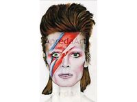 David Bowie Print ! Painted as a tribute 65to an iconic legend by Artist Ursula Apreda
