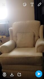 3 piece cream sofa with 2 matching arm chairs