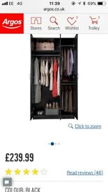 NEW Argos 3 Door Black Cheval Wardrobe
