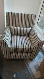 Sofaworks. Canterbury striped armchair 3 years old