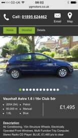 Vauxhall Astra OVERHEATING needs repair! for sale