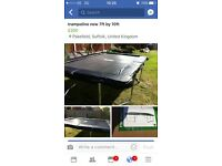 Trampoline, put up but was too small for my older children, no net but you can purchase one