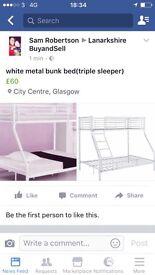 White metal bunk bed (triple sleeper)