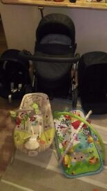 Baby bundle, travel pram, baby chair and playmat