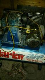 Clarke industrial air compressor single phase spares or repair need new motor