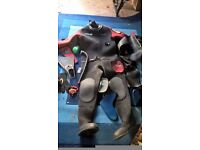 Old vintage wetsuit and equipment