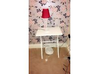 Small bedside lamp with red shade & bulb