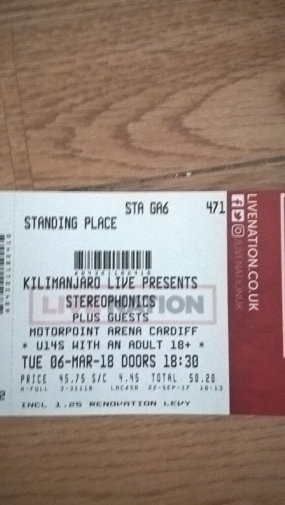 2 Standing Stereophonics Tickets Cardiff 06/03/2018 (Tickets in hand)