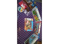 JOB LOT OF JIGSAW PUZZLES AND HANG MAN GAME FOR SALE.