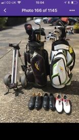 2 sets of clubs trolly shoes like new