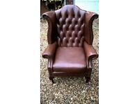 Brown Chesterfield Queen Anne armchair chair Delivery Poss
