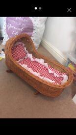 Childrens wicker baby cradle