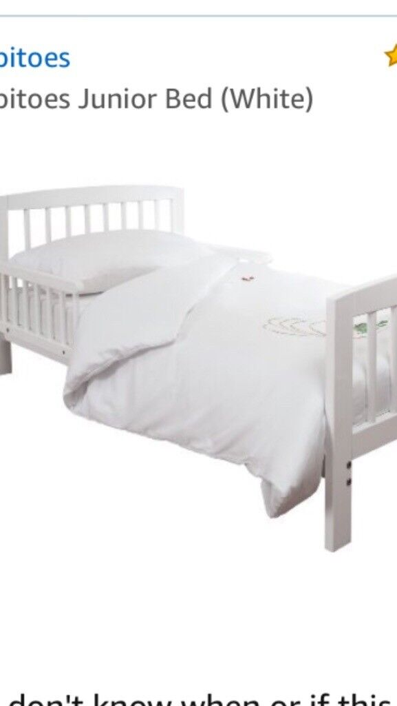 White junior bed used for two weeks only, included comfortable mattress.