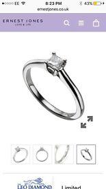 LEO DIAMOND PLATINUM 0.25CT I-SI2 PRINCESS CUT RING
