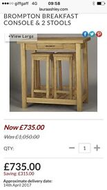 LAURA ASHLEY OAK DINING TABLE BROMPTON BREAKFAST CONSOLE & STOOLS RRP £1000