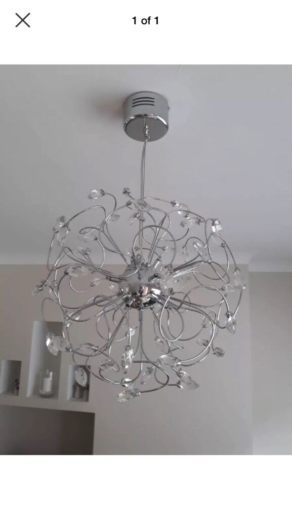 Bhs Beautiful Silver And Crystal Large Round Light Fitting