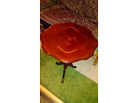 Beautiful vintage varnished mahogany and walnut coffee table with woodcut flower inset £20
