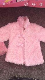 Girls pink fur coat age 18 months