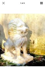 2x Lion Statues White Marble