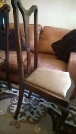 Set Queen Anne Chairs Solid wood Elm 4