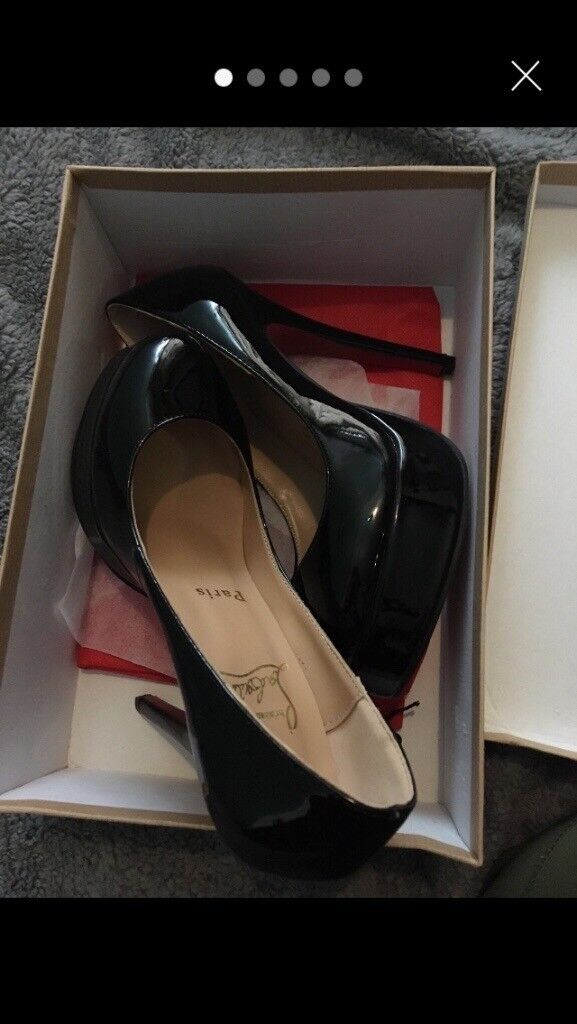 Black High Heels Red Soles Size 5 With Box And Dust Bag Worn Once In Caerphilly Gumtree