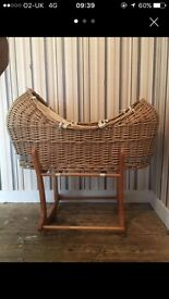 Wicker Moses Basket and rocking stand